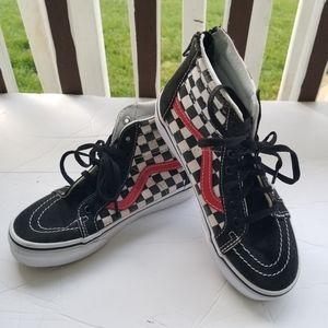 Van's High Top Sneakers Black/red Sz 1 Youth